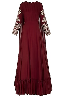 Maroon Embroidered Anarkali Gown With Attached Dupatta by Bhumika Sharma