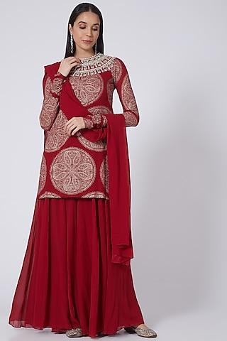 Red Georgette Sharara Set by Bhumika Sharma