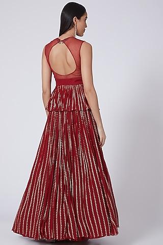 Red Georgette Pleated Skirt Set by Bhumika Sharma