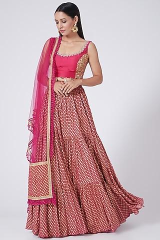 Rani Pink Zardosi Embroidered Lehenga Set by Bhumika Sharma