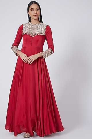 Rani Pink Embroidered Gown by Bhumika Sharma