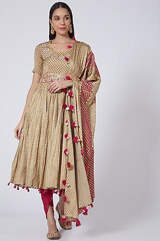Beige Embroidered Kurta Set by Bhumika Sharma