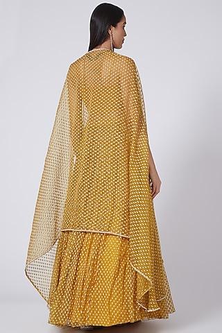 Haldi Yellow Pleated Skirt Set by Bhumika Sharma