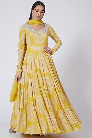 Yellow Printed Anarkali set by Bhumika Sharma