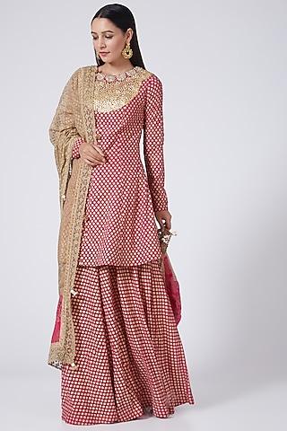 Rani Pink Printed Gharara Set by Bhumika Sharma