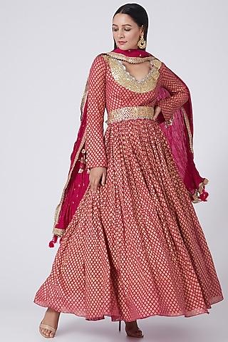 Rani Pink Printed Anarkali Set by Bhumika Sharma