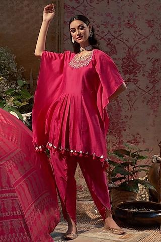 Rani Pink Embroidered Dhoti Set by Bhumika Sharma