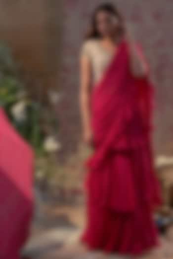 Rani Pink Embroidered Pre-Stitched Saree Set by Bhumika Sharma