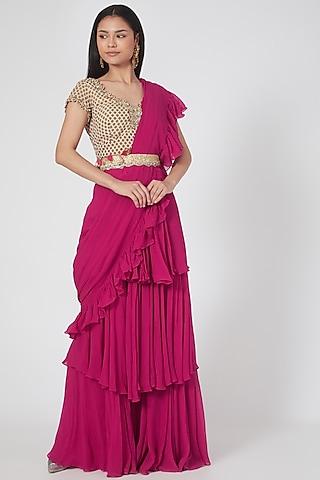 Rani Pink Layered Saree Set by Bhumika Sharma