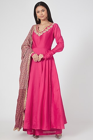 Rani Pink Embroidered Anarkali Set by Bhumika Sharma