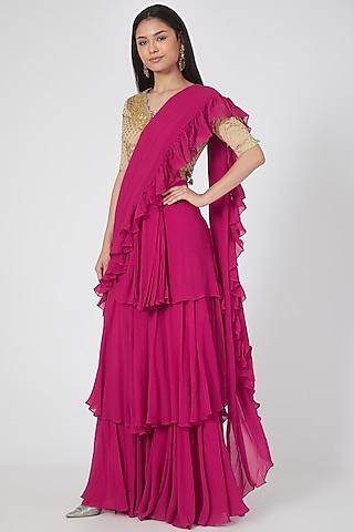 Rani Pink Printed Pre-Stitched Saree Set by Bhumika Sharma