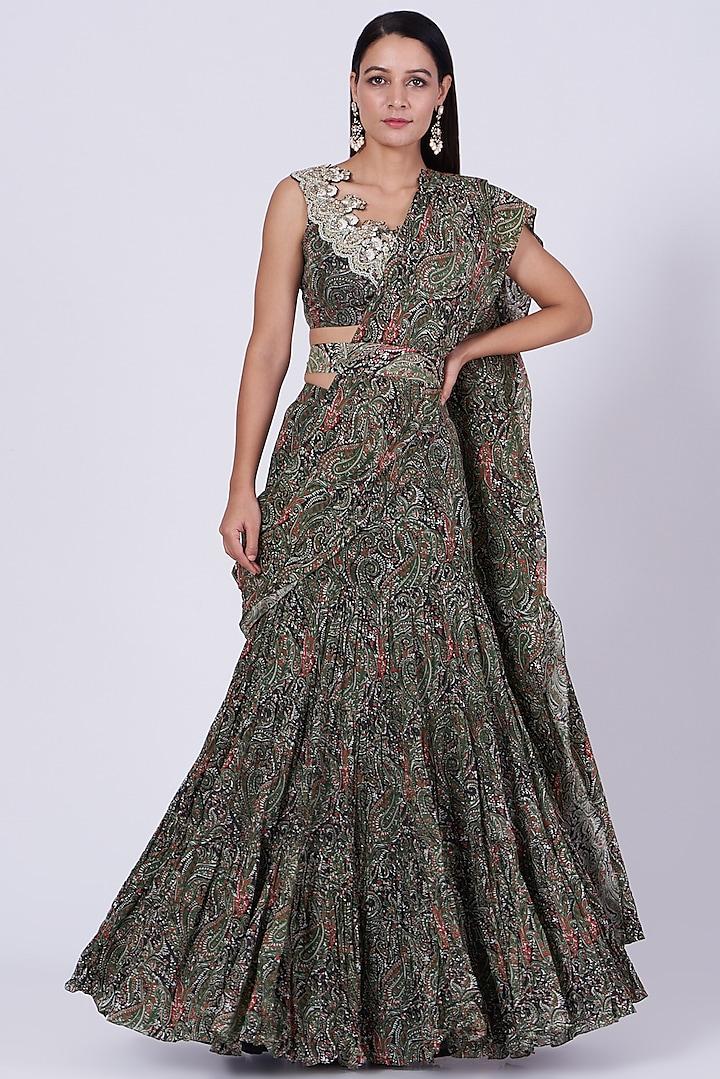 Green Printed Draped Saree Set by Bhumika Sharma