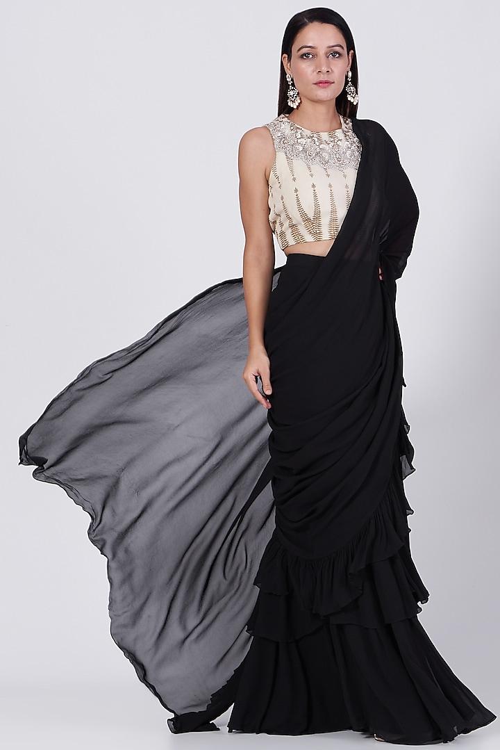 Black Ruffled Saree Set by Bhumika Sharma