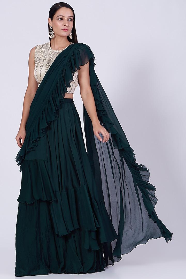 Green Asymmetrical Layered Ruffled Saree Set by Bhumika Sharma