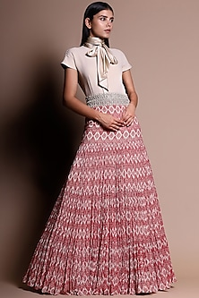 Red & Ivory Printed Gown With Belt by Bhumika Sharma