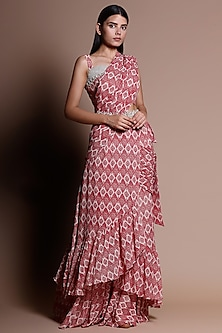 Red Pre-Stitched Printed Saree Set With Belt by Bhumika Sharma