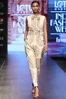 Ivory Printed Jumpsuit With Tassels by Bhumika Sharma