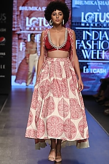 Red & Ivory Printed Skirt Set by Bhumika Sharma
