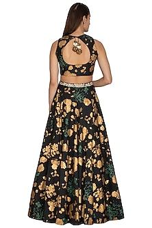 Black Floral Embroidered Lehenga Set by Bhumika Sharma