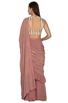 Fuchsia Printed Ruffled Saree Set by Bhumika Sharma