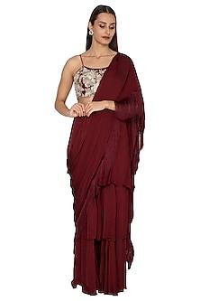 Maroon Embroidered Saree Set by Bhumika Sharma
