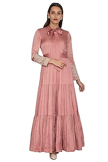 Blush Pink Embroidered Gown by Bhumika Sharma