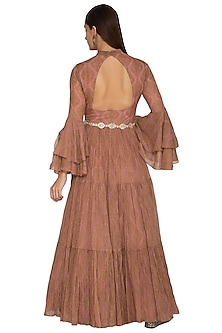 Nude Embroidered Ruffled Gown With Belt by Bhumika Sharma