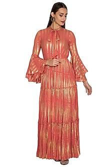 Copper Printed Ruffled Gown by Bhumika Sharma