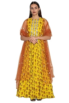Yellow Floral Printed Anarkali With Rust Dupatta by Bhumika Sharma