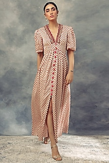 Red Printed Short Dress by Bhumika Sharma