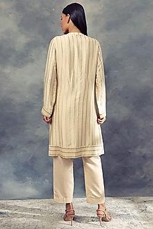 Ivory Nukta Print Kurta With Pants by Bhumika Sharma