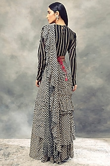 Black Printed Saree With Drape Blouse by Bhumika Sharma