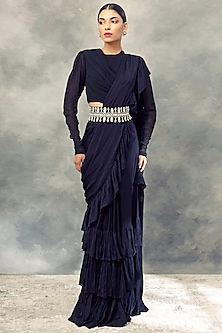 Black Ruffle Saree Set by Bhumika Sharma