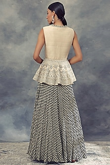Black Printed Anarkali With An Ivory Embroidered Jacket by Bhumika Sharma