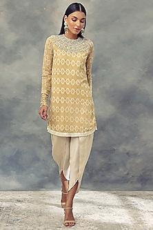 Mustard Yellow Printed Kurta With Dhoti Pants by Bhumika Sharma
