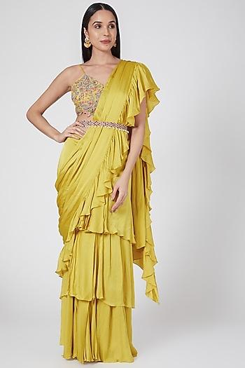 Yellow Embroidered Ruffled Pre-Stitched Saree Set  by Bhumika Sharma