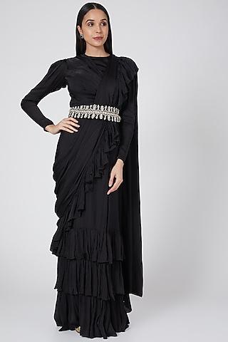 Black Embellished Ruffled Saree Set by Bhumika Sharma
