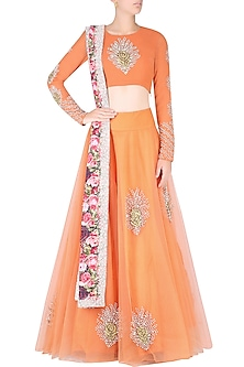 Orange Rosette Motifs Embroidered Lehenga Set by Bhumika Sharma