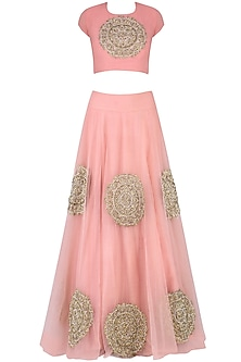 Pink Circular Motifs Embroidered Lehenga Set by Bhumika Sharma