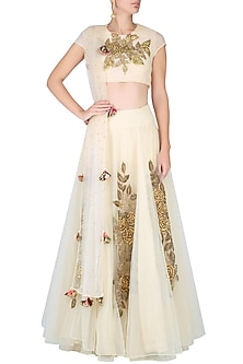 Ivory Cutdaana Embroidered Lehenga Set by Bhumika Sharma