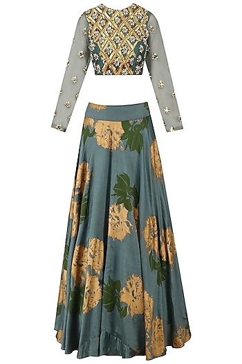 Teal Embroidered Lehenga Set by Bhumika Sharma