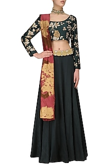 Teal Green Embroidered Lehenga Set by Bhumika Sharma