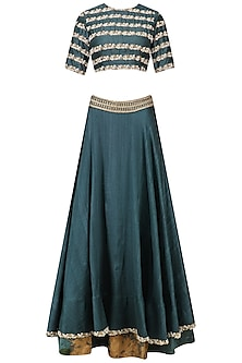 Teal Green Pearl Embroidered Lehenga Set by Bhumika Sharma