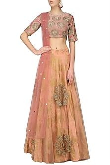 Earthy Pink Embroidered Lehenga Set by Bhumika Sharma