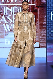 Gold Printed Gown With Embroidered Front by Bhumika Sharma