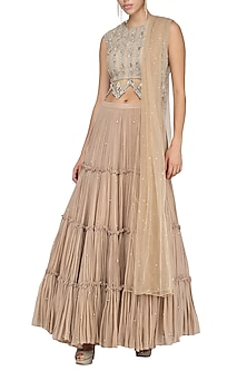 Nude Embellished Lehenga Set by Bhumika Sharma