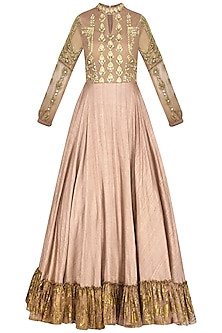 Bright Nude Anarkali Gown by Bhumika Sharma