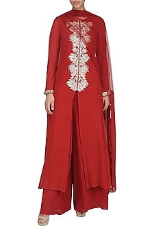 Red Sequin Embroidered Kurta Set by Bhumika Sharma