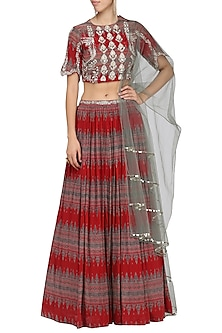 Red embroidered lehenga set by Bhumika Sharma