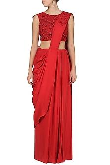 Red Draped Saree by Bhumika Sharma